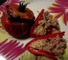 Tomate et poivron farcis (29/09/2012)